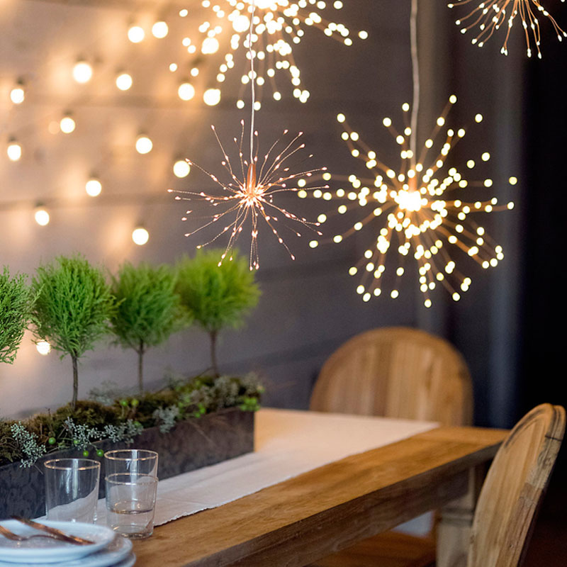 LED Fairy String Light Firework Holiday Decorative Garland DIY Foldable Bouquet Shape For Wedding Christmas With Controller