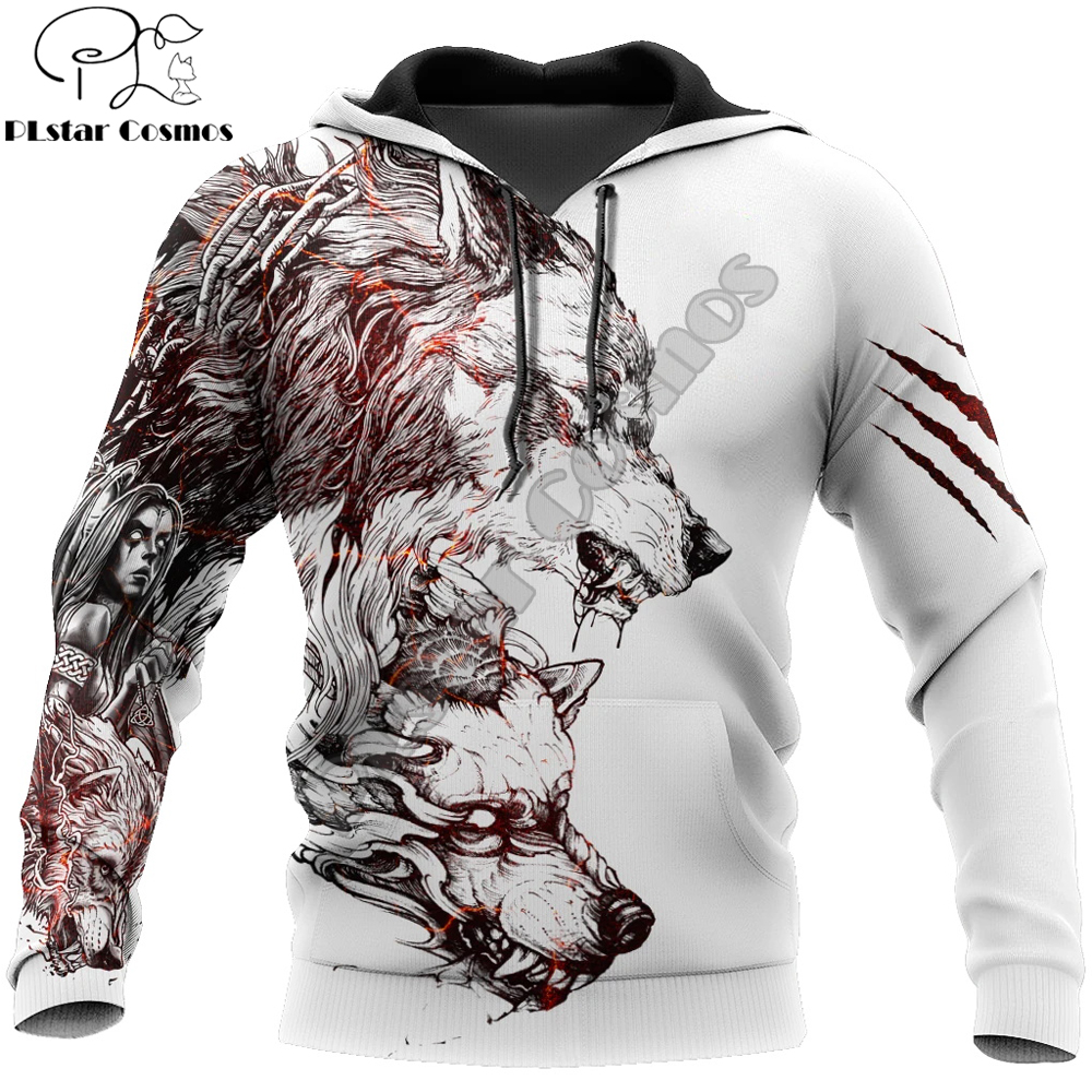 Tattoo Wolf 3D All Over Printed Mens hoodies Harajuku Streetwear Fashion Hoodie Unisex Autumn Jacket Tracksuits Drop shipping
