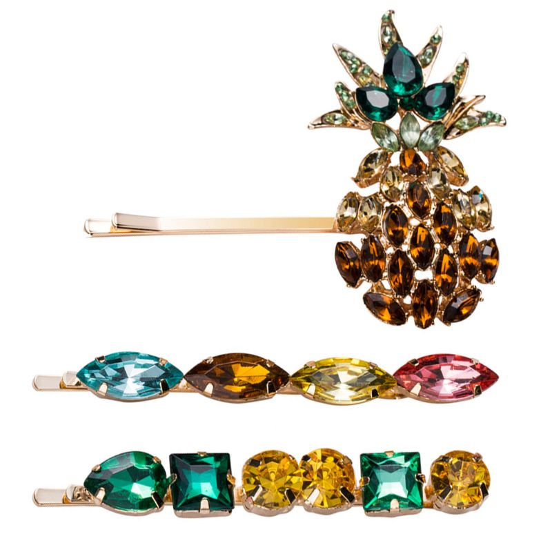 Summer Women Side Bangs Colored Jewelry Hair Clip Imitation Crystal Pineapple Metal Alloy Hairpins Metal Alloy Styling Barrettes