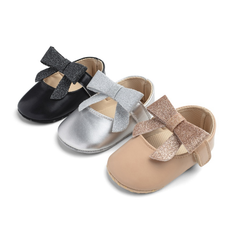 Bling Bow Mary Jane Baby Girl Shoes Genuine Leather Newborn Handmade First Walkers Baby Moccasins Soft Sole Princess Shoes