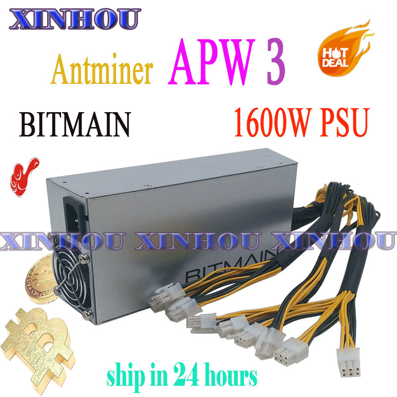 BITMAIN APW3 1600W BTC LTC DASH ETH Miner Power Supply For ANTMINER S9 T9 V9 Z9 DR3 L3 E3 X3 Baikal X10 G28 Innosilicon A9 D9
