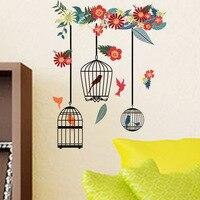 Pegatinas coloridas de flores para decoración del hogar, pegatinas de pared de jaula de pájaros para sala de estar, dormitorio, Grandes murales, Póster Artístico de PVC