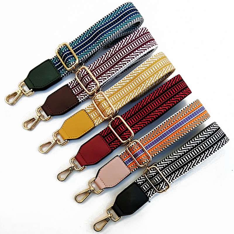 1PC Cotton Fabric Stripe Strap Chic Belt Replacement Adjustable Shoulder Bag Wide Strap Belt DIY Lady Handbag Handle Belt