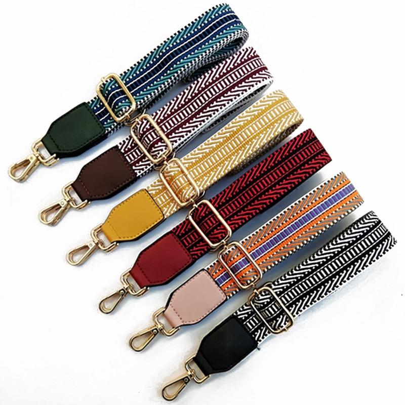 1PC Cotton Fabric Stripe Strap Chic Belt Replacement Adjustable Shoulder Bag Wide Strap Belt DIY Lady Handbag Handle Belt
