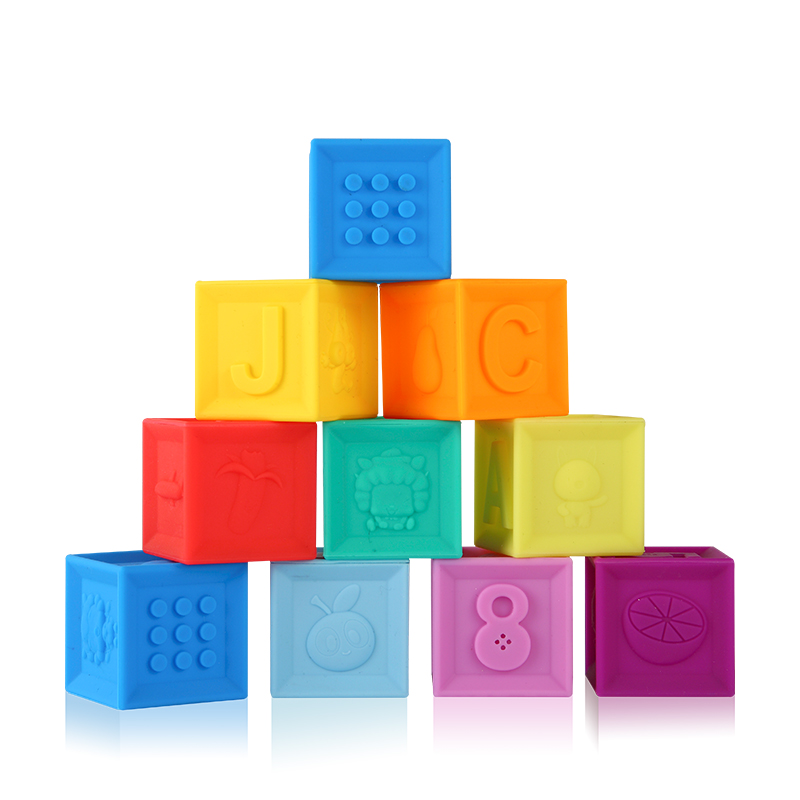 Silicone Blocks Baby Toys 100% Food Grade Teether Safe And Eatable Toys Cognitive Training For Infant Gift    -