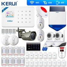 最新kerui W18ワイヤレスwifi gsmホーム警報キットアプリ制御液晶gsm smsの盗難警報システム