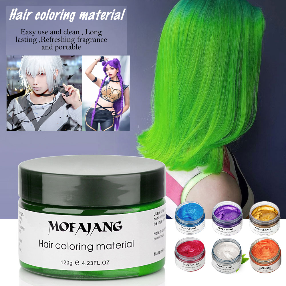 Mofajang 9 Colors Unisex Silver Grey Hair Color Wax Mud Dye Cream Temporary Modeling Hair Color Dyer For Party Stage Makeup