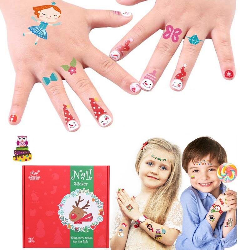 Christmas Cartoon Tattoo For Kid Cute Fake Taty Children Nails Sticker Body Art Waterproof Temporary Tattoo Sticker Set