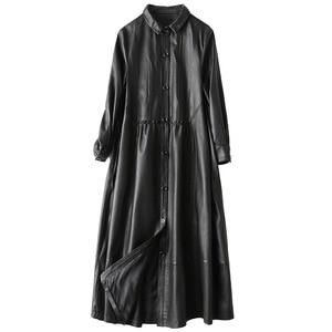 Image 5 - Gabardina de piel auténtica para mujer, abrigo largo sencillo de piel de oveja, color negro clásico, chaquetas con cuello vuelto para oficina