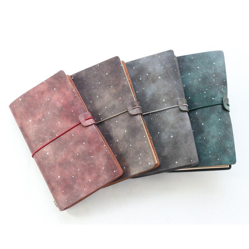 Domikee criativo céu padrão vintage couro viajante pessoal recarregáveis bala diário e notebooks planejador presente papelaria