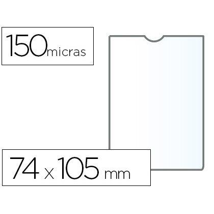 COVER PORTADOCUMENTO Q-CONNECT DIN A7 150 MICRON PVC TRANSPARENT WITH UÑERO 74X105 MM 25 Units