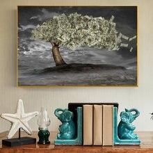 Cuadro sobre lienzo para decoración de la sala de estar, pintura sobre pared con diseño de dinero en forma de árbol para decoración del hogar