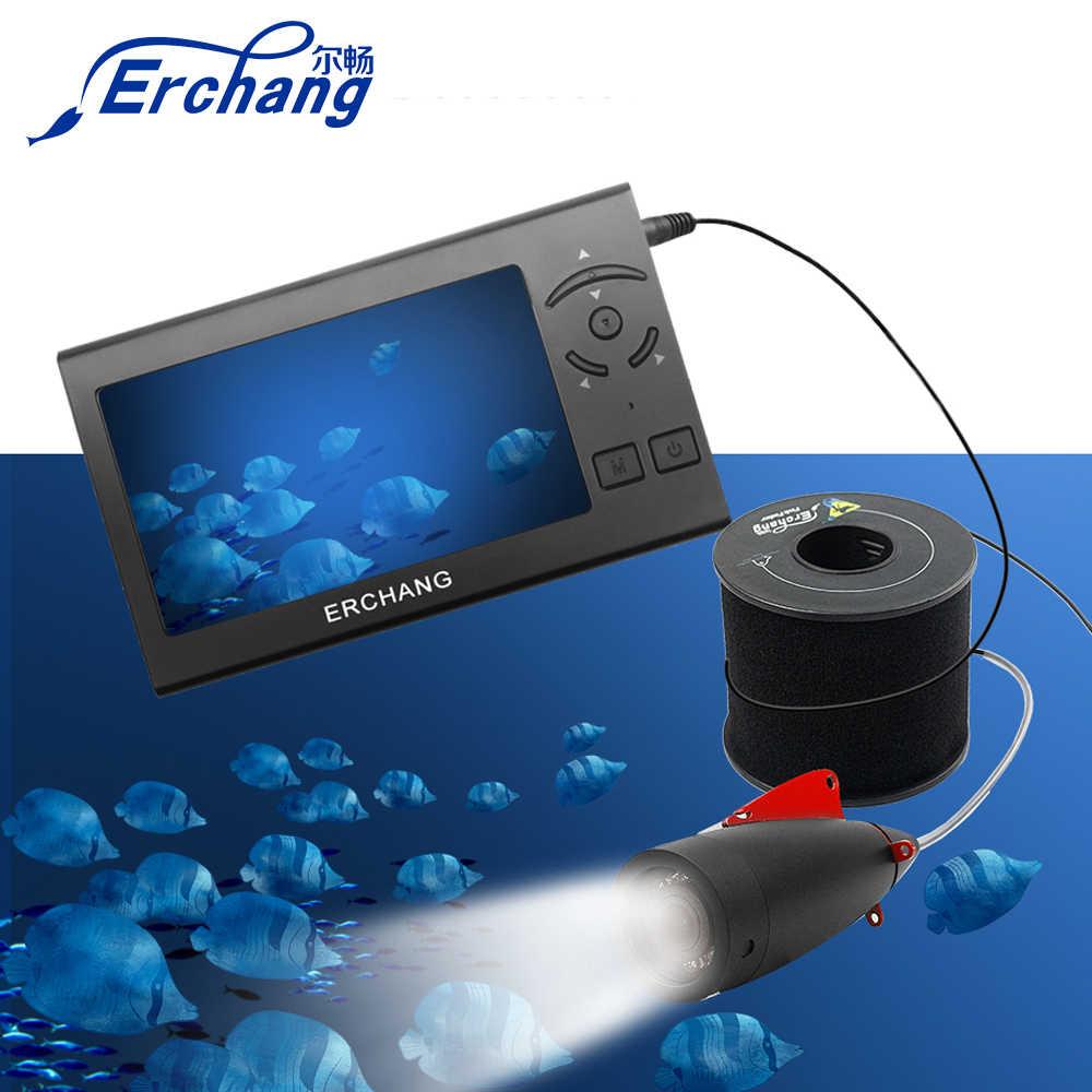 Erchang 4.3 pollici 1000TVL Pesca Subacquea Camer Fish Finder 15M Cavo 8pcs Led Bianco Lampada FishFinder Pesca Nel Ghiaccio macchina fotografica