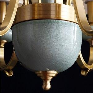 Image 4 - Модные потолочные люстры для гостиной керамические люстры с абажуром на кухню люстра потолочная с фарфорой подвесные светильники для спальни латунные люстры потолочные