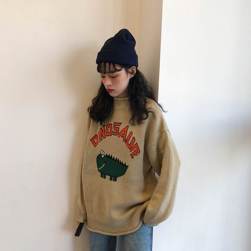 Korean-style CHIC Autumn And Winter New Style 2018 Sweet Laziness-Style Cartoon Little Dinosaur Sweater Knit WOMEN'S Sweater On