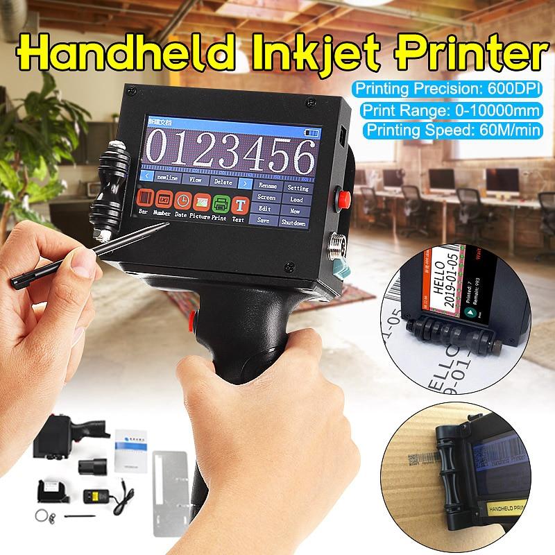 110-220V LED Screen Touch-Screen Handheld Printer 600DPI Intelligent USB QR Code Inkjet Label Printer US Plug Coding Machine
