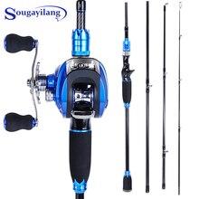 цена на Sougayilang Blue Fishing Lure Rod and Baitcasting Reel Combo Carbon Casting Rod and Casting Fishing Reel Set Pesca Pole