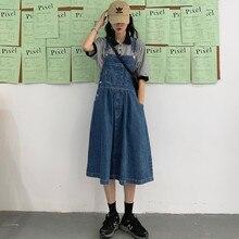 Винтаж элегантный дизайн; юбка на подтяжках; Для женщин передний карман платье трапецивидной формы Джинсовые комбинезоны Свободная юбка средней длины, в пол джинсы