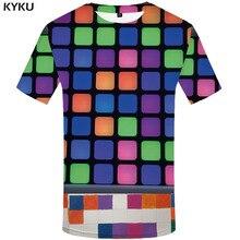 KYKU Brand RubikS Cube T shirt Men Square Tshirt Printed Russia Tshirts Casual Harajuku Shirt Print Psychedelic T-shirts 3d