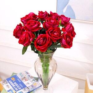 Image 5 - 10pcs/lot Artificial Rose Flowers Bouquet Real touch Penoy 1 Bunch Silk flowers Arrange Table flores for Home Wedding Decoration