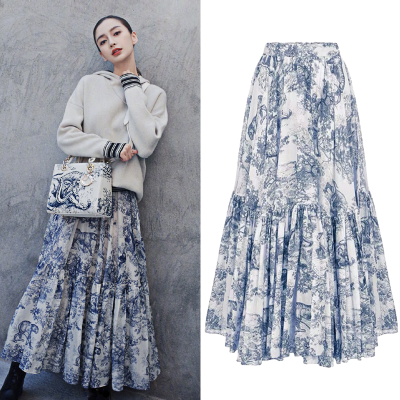 Runway Design Long Maxi Skirts Womens 2019 Summer New Ink Totem Forest Animals Print Ruffled Pleated Skirts  Jupe Femme