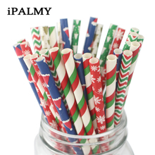 ipalmay 150pcs Merry Christmas Paper Straws Christmas Decorations Striped Snowflake Christmas Tree Red Green Straws for Party лобзик фиолент пм5 720э 720вт 0 2800ход мин дер 115мм ал 20мм сталь 10мм маятниковый