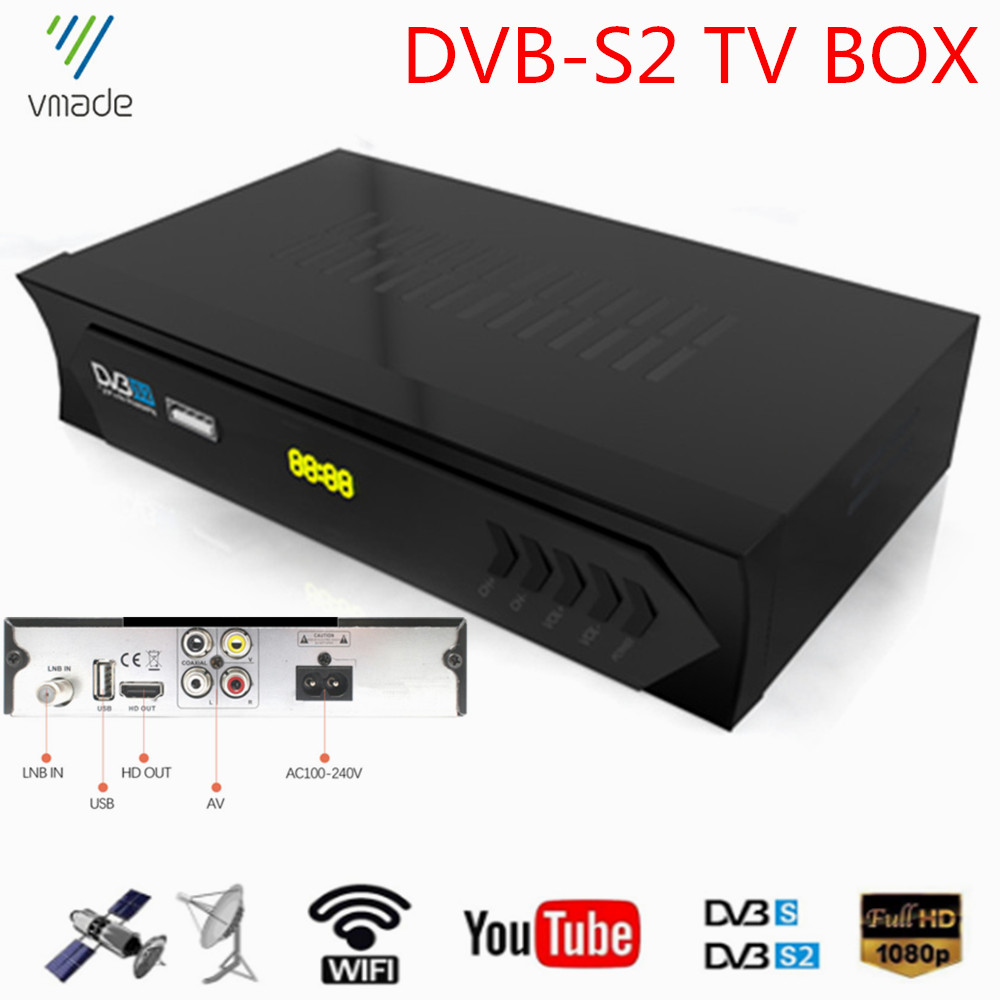 Vmade Original DVB-S2 Satellite Receiver Full HD 1080P TV Tuner Support MPEG4 H 264 Youtube Dolby AC3 Cccam Stardard Set-Top Box