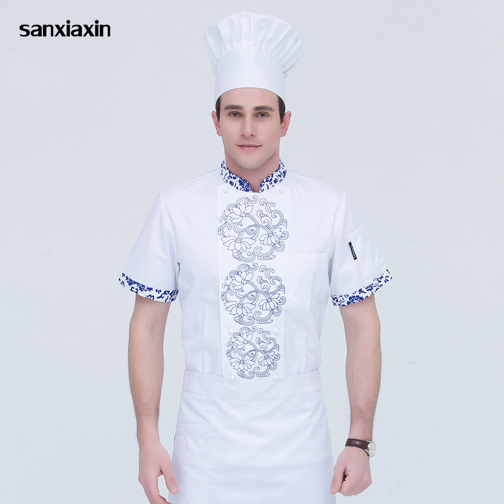 Sanxiaxin Double-breasted Food Service Chef Jacket Restaurant Uniform Printing Short Sleeved Hotel Kitchen Work Shirt Men M-4XL