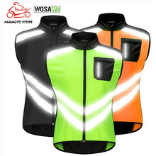 WOSAWE Reflective Cycling Vest Ciclismo Motorcycle Sports Team Uniform Bike Clothing Warning High Visibility Safety Vest Green