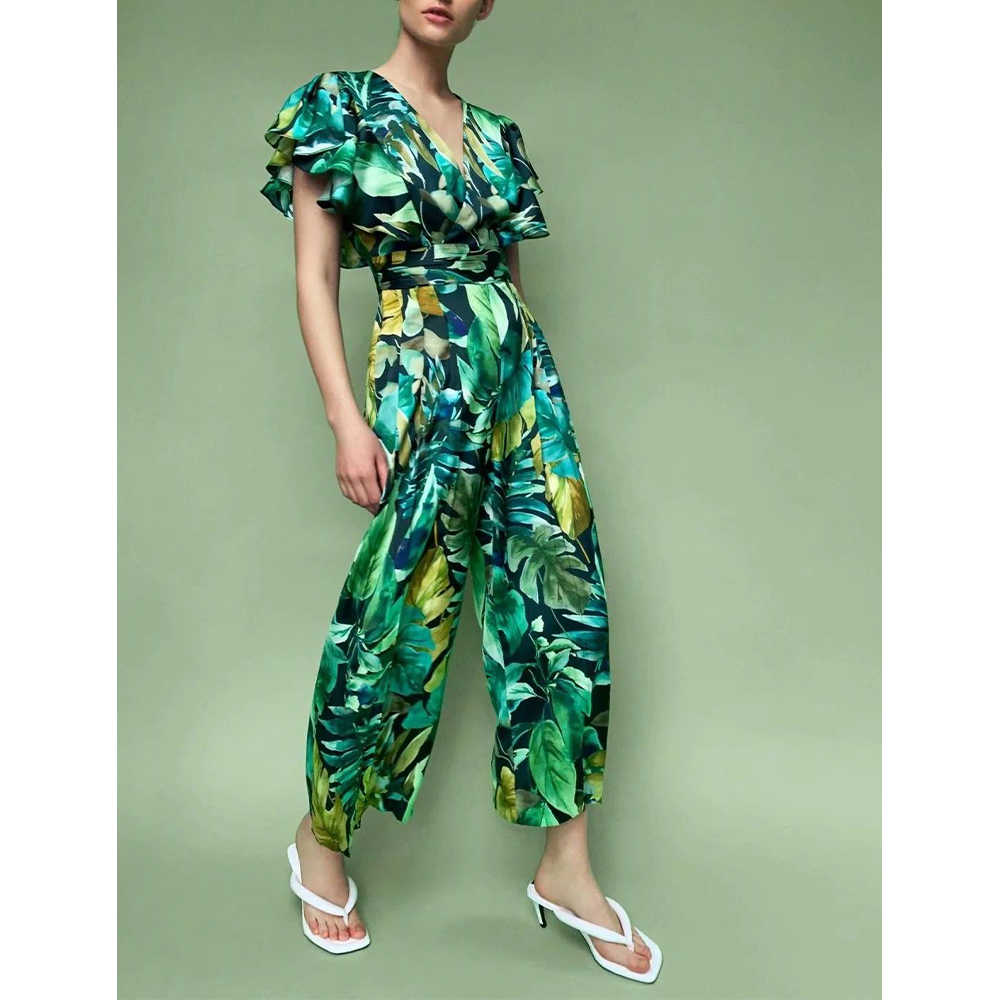 Frauen Sommer overall böhmischen green floral print rüschen kurzen ärmeln fashion Casual lange bodys combinaison femme
