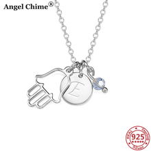AC 925 Sterling Silver Hamsa Hand Personalize Letter Round Engravable Necklace With Birthstone Pendant Anniversary Gift