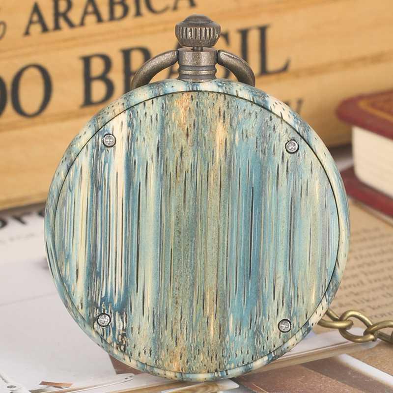 Luz Verde de Várias Cores De Madeira De Bambu Fob Relógio Quartzo Relógio de Bolso Moda Números Arábicos De Madeira + 30cm Cadeia Relojes de bolsillo