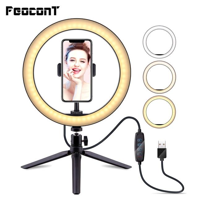 26ซม./10นิ้วแหวนโคมไฟแหวนกล้องขาตั้งผู้ถือโทรศัพท์มือถือสำหรับสตรีมสด/แต่งหน้า/youtubeวิดีโอ/ถ่ายภาพ