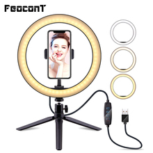 26cm/10inch Ring Lamp Camera Ring Light Stand Cell Phone Holder For Live Stream/makeup/youtube Video/photography