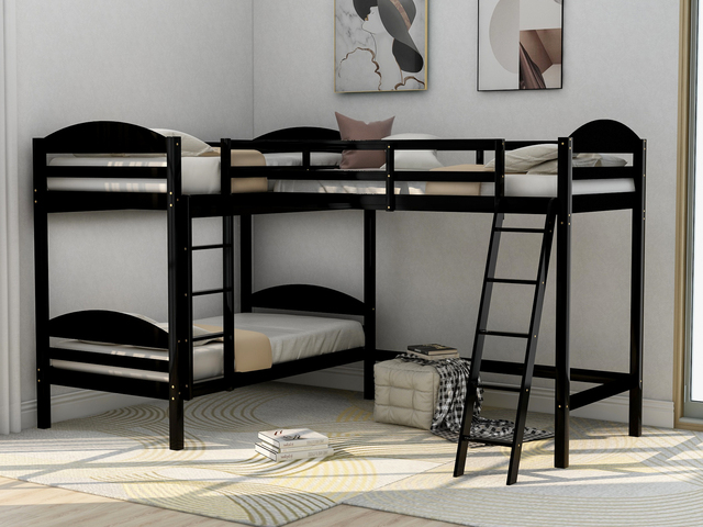 Twin over Twin Bunk Beds with Slide Loft Bed 6