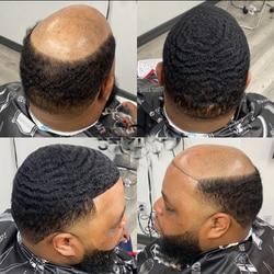 Pele Peruca Afro Unidade 10MM Homem Tecer Cabelo Preto Crespo Encaracolado Peruca Masculina Dos Homens Perucas de Cabelo Humano Kinky Curly Máquina Feita