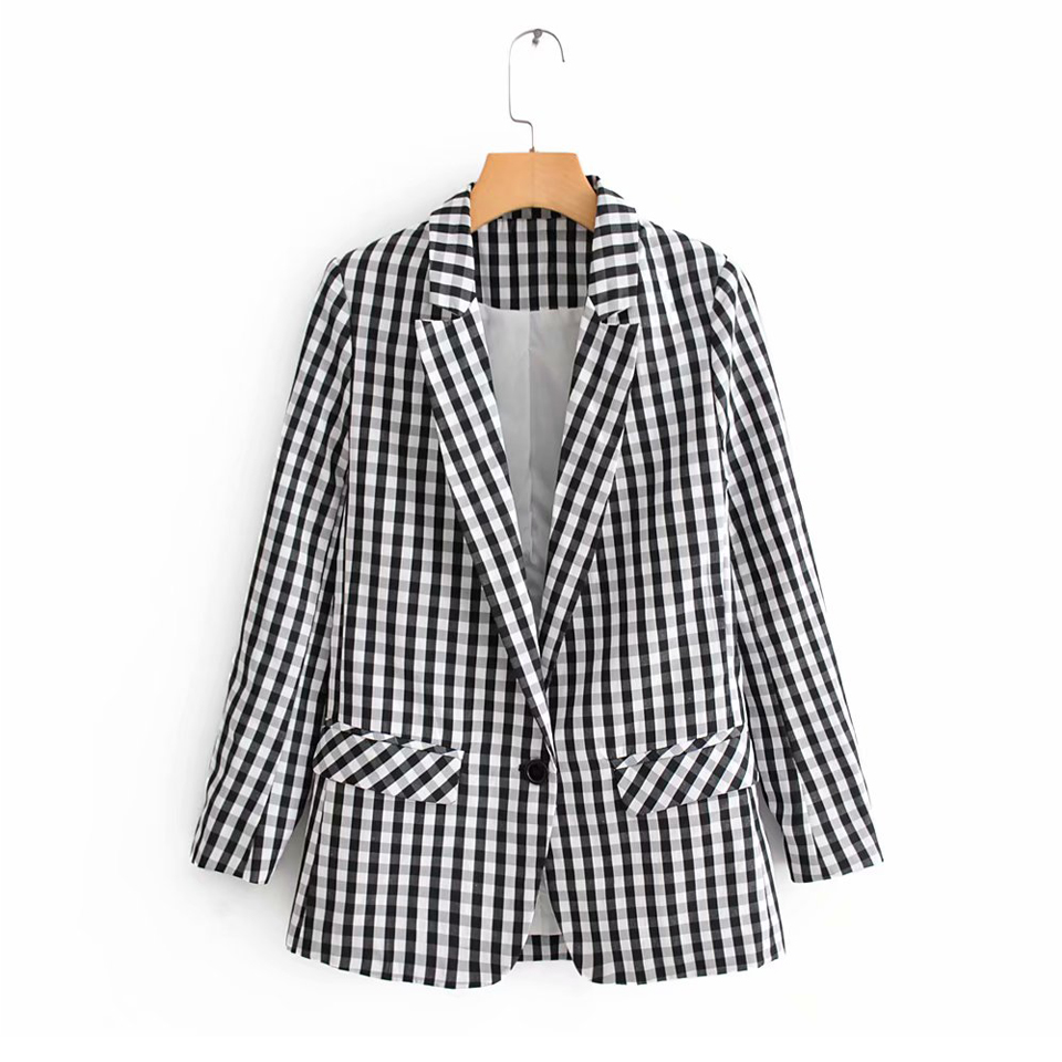 Coats Suits Blazers Long-Sleeve Plaid Single-Button Female Office Lady Casual Women Summer