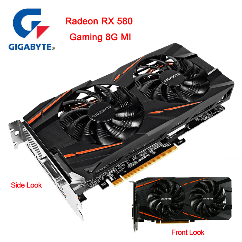Gigabyte Graphics Card RX580 Radeon 8GB RX500 Series GDDR5 PCI Express X16 3.0 Video Graphics Card External For PC Desktop Used