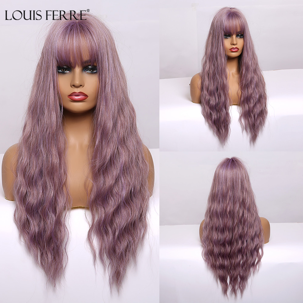 LOUIS FERRE Pastel Purple Synthetic Wigs Long Water Wave Wigs With Bangs For Black Women Afro Cosplay Lolita Heat-Resistant Wig