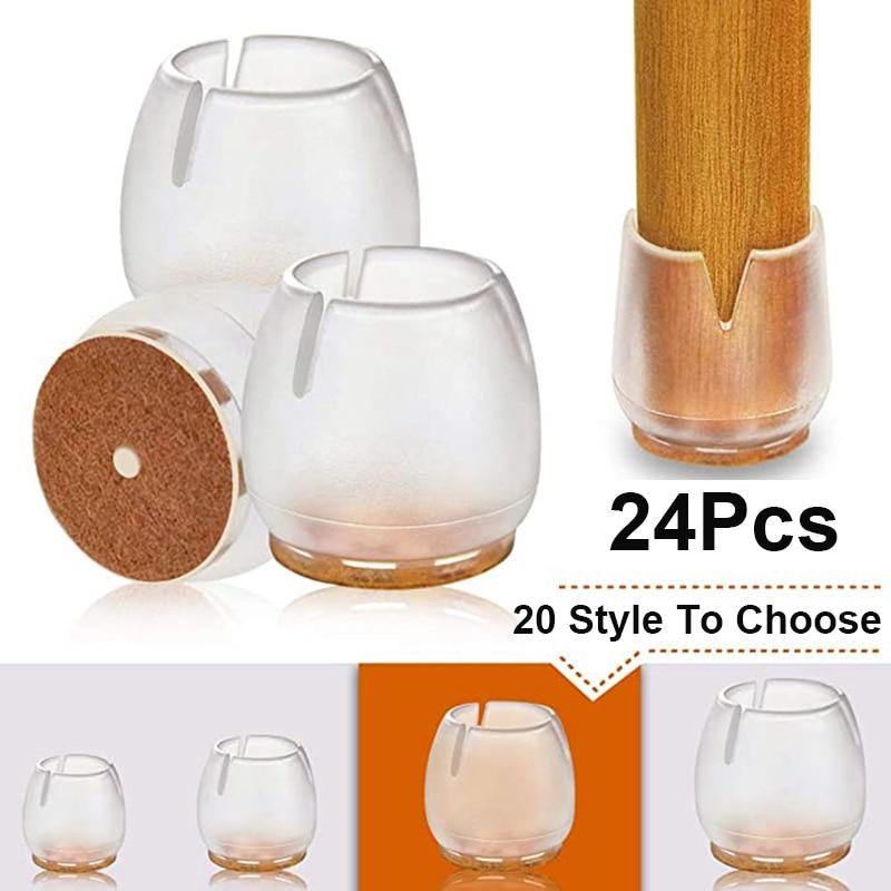Модернизированная мебель, 24 шт., фетровая подкладка, Нескользящие колпачки для ножек стола, стула, защита для пола, настольная лампа-0