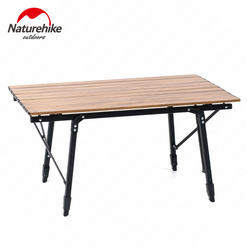 Naturehike 2019 Folding Camping Table Wood Grain  Aluminum Table Retractable Table Legs Picnic Camping Portable Travel Tool