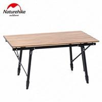 Naturehike 2019 Folding Camping Table Wood Grain Aluminum Table Retractable Table Legs Picnic Camping Portable Travel Tool