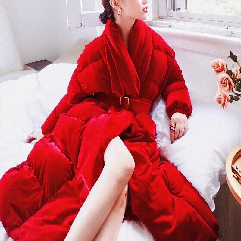 Women Winter Women's Down Jacket Fashion Women Coat Waist Warm Jacket Elegant Red ParkaWinter Coats