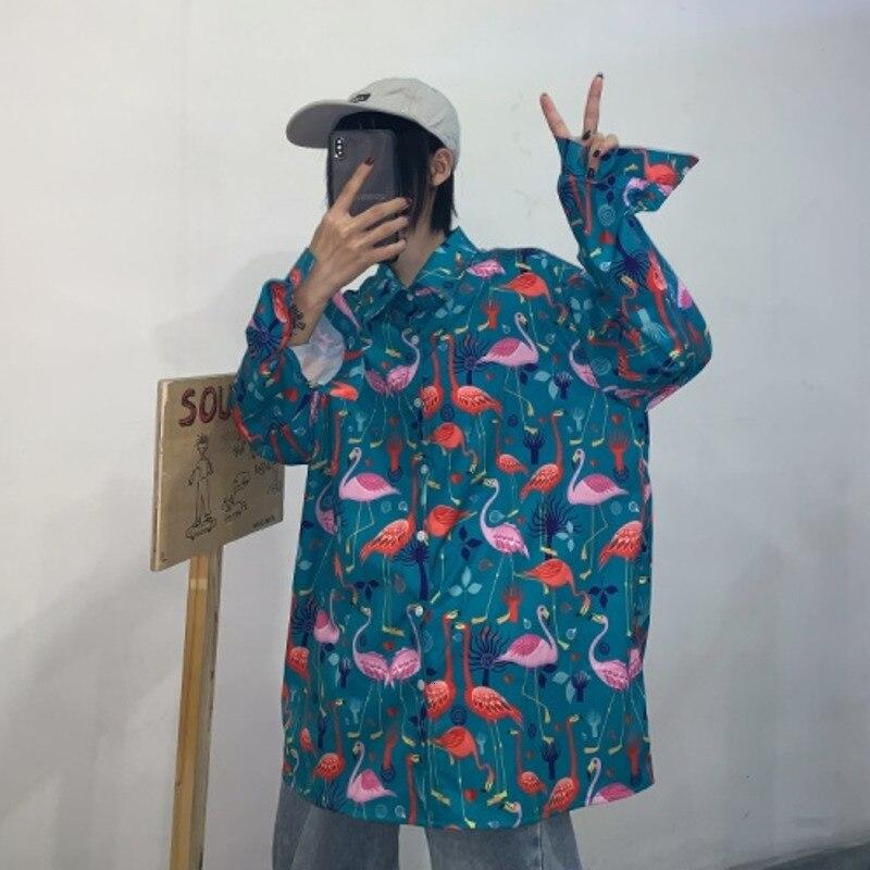 Men's Long-sleeved Shirt 2019 New Print Loose Flamingo Cardigan Long-sleeved Shirt Youth Personality Fashion Men's Clothing