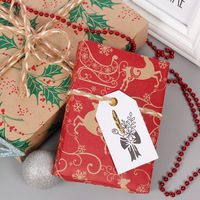 5pcs Snowflake Merry Christmas Paper wrapping paper Christmas Wedding green decoration Gift Wrap Artware Packing Package Paper