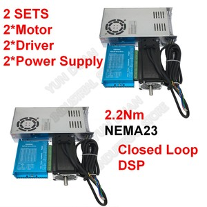 2Sets Nema23 2.2Nm 4.5A 2Ph DSP Closed Loop Stepper Motor + Drive + Power Supply Kits Hybird Encoder Easy Servo For CNC Router(China)