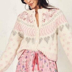 Image 5 - בציר שיק נשים עמוק V צוואר loose פרחוני מודפס boho סוודרים גבירותיי ארוך שרוול סרוג בוהמי קרדיגן סוודר