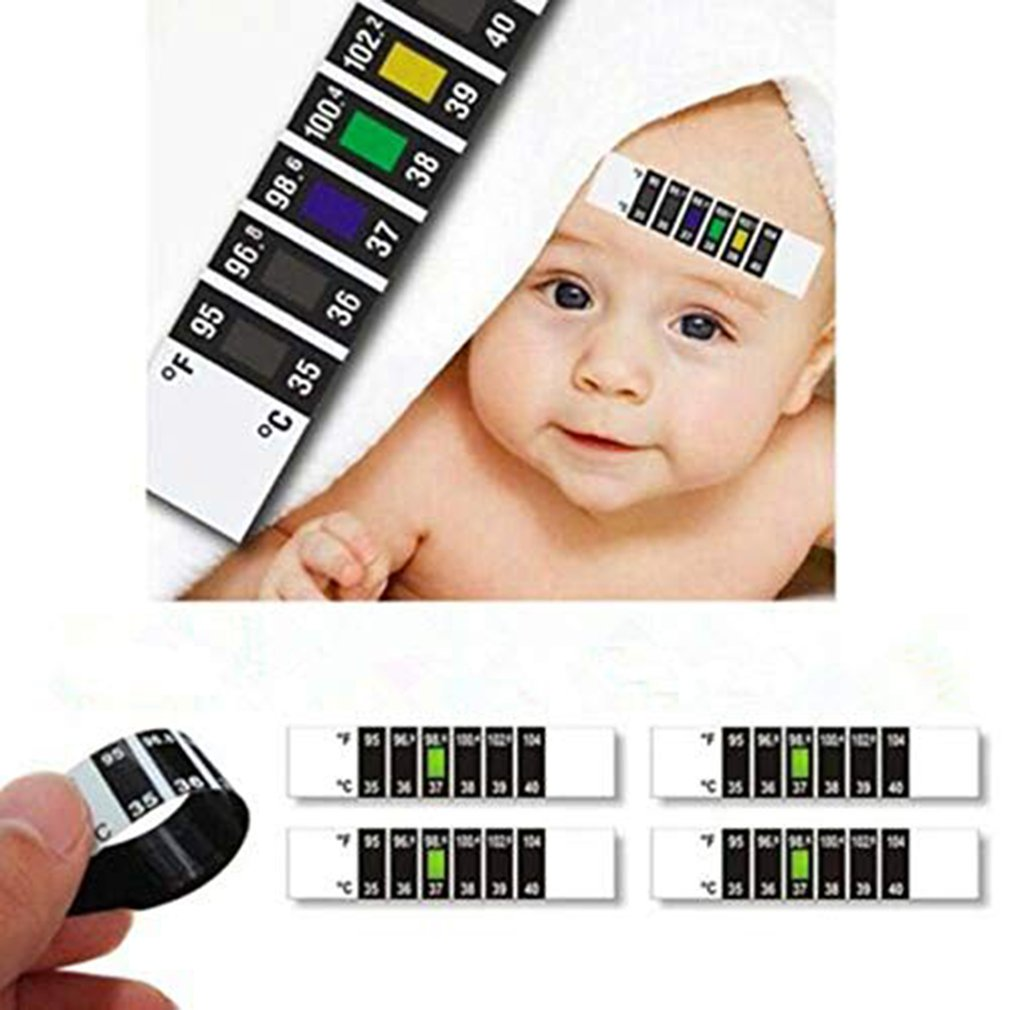 Baby Forehead Temperature Thermometer Strips Reusable Fever Thermometer Pad Adhesive Checking Thermometer