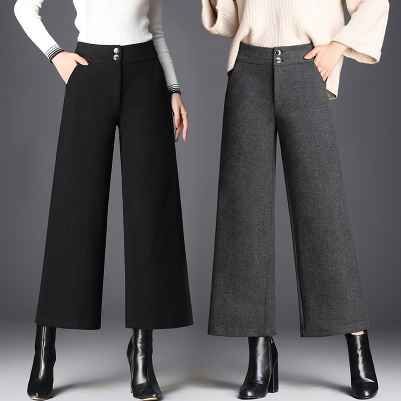 Autumn Winter   Pants   Women Elegant High Waist Trousers Ladies Casual Woolen   Wide     Leg     Pants   palazzo mujer