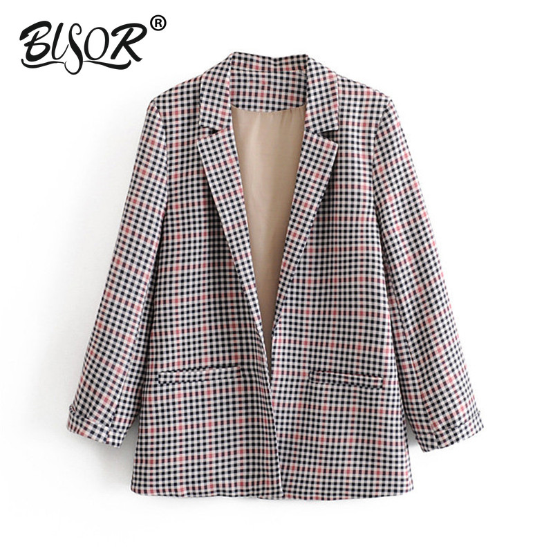 Women Plaid Suit Blazer Vintage Style 2019 Autumn Long Blazer Pockets Office Lady Suit Outwear